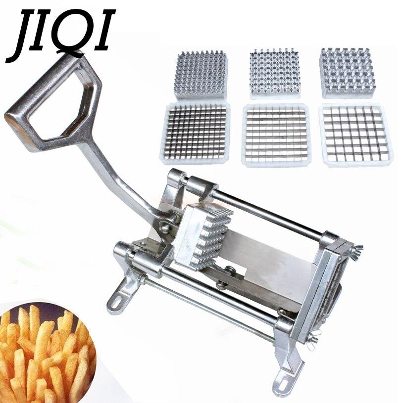 JIQI acier allié frites pommes de terre bande coupe puces Machine à découper manuel pommes de terre trancheuse main pousser légume fruit Chopper