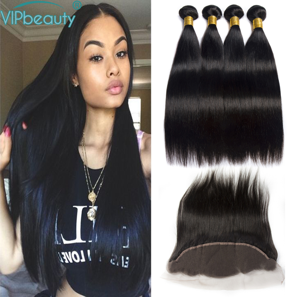 VIP Beauty Peruvian Straight Hair 3 Bundles Human Hair Bundles With Frontal Closure 13x4 Pre plucked