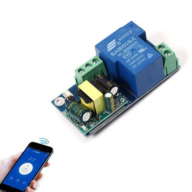 High Power Wifi Relay Switch Module Inching Jog Mode AC 220V Phone Timer Remote Control 6.8x3.3x2.6cm PSA Wireless Smart Home
