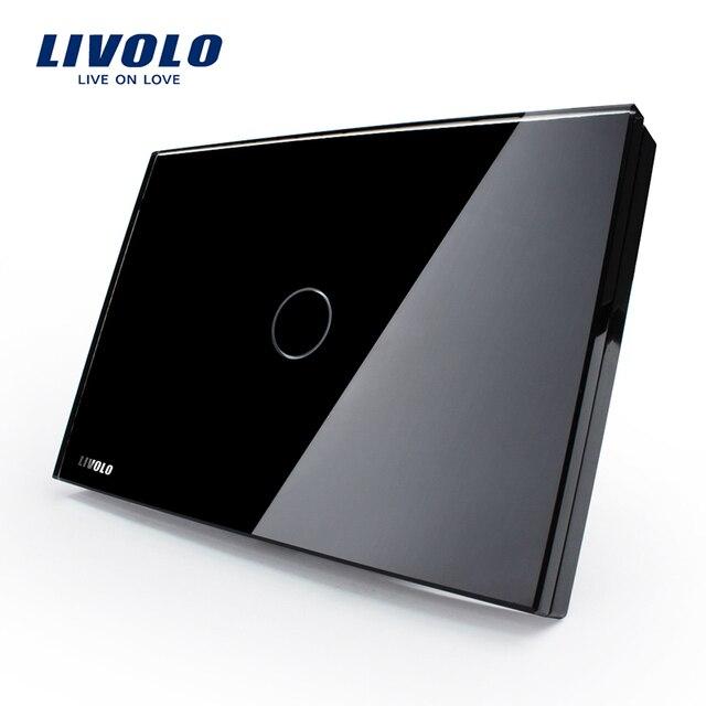 LIVOLO Saklar Sentuh, Livolo Black Crystal Kaca Panel, US Light Touch Screen Beralih VL-C301-82, AC110 ~ 250 V, LED indikator