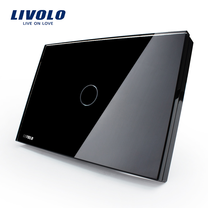 LIVOLO Touch Switch, Livolo Black Crystal Glass Panel,US Light Touch Screen Switch VL-C301-82, AC110~250V, LED indicator 2017 free shipping smart wall switch crystal glass panel switch us 2 gang remote control touch switch wall light switch for led