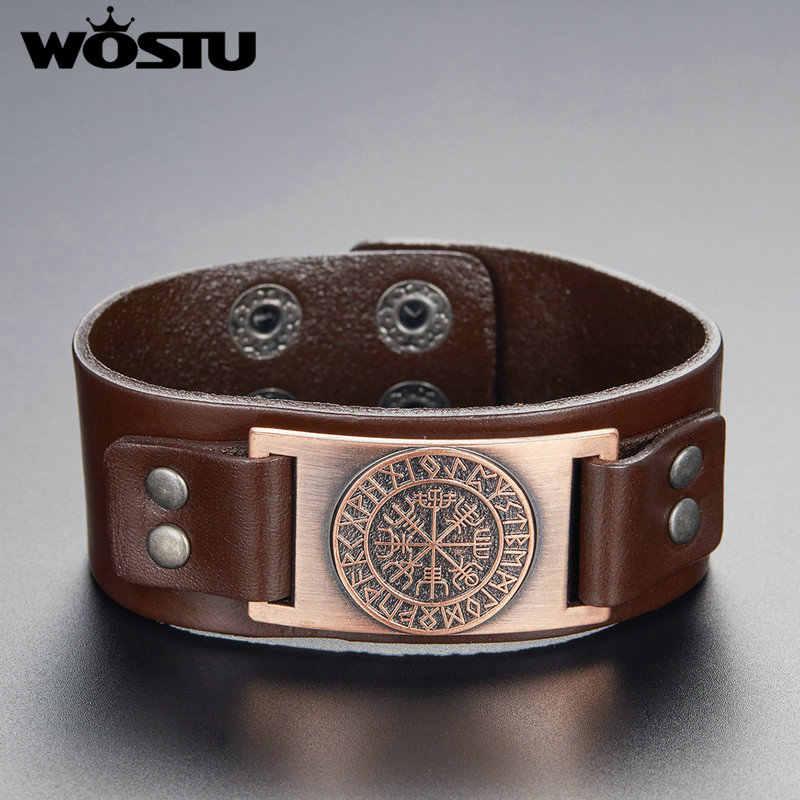 WOSTU Viking Vegvisir kompas bransoletka starożytna legenda Nordic Runes mężczyzn biżuteria Odin Symbol skórzane bransoletki FC0351