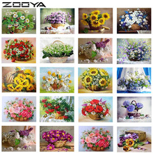 ZOOYA Diamond Embroidery Flower Basket DIY Diamonds Painting Mosaic Picture Rhinestones Cross Stitch RF1107