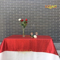 Customize 120x390cm Red Sequin Tablecloth