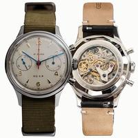 Pilot horloge Zeemeeuw horloge 1963 hand-wind Doek Band Waterdicht Horloge met Transparante back case saffierglas meeuw horloge