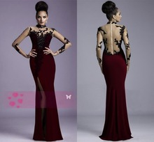 2014 Janique Burgundy Evening Gowns Sheer Lace High neck Long Sleeves Applique Side Slit Floor Length Sexy Prom Dresses CH-865 burgundy lace details crew neck long sleeves high waisted dresses