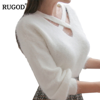 RUGOD New Autumn Winter Sweaters 2018 Fashion Mink Cashmere Soft Pullover Sexy Criss cross V Neck Knitted Sweater For Women Tops