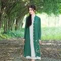 Cardigan women female spring summer autumn ethnic vintage long sleeve stand collar green white cardigan blouse shirt top blusa