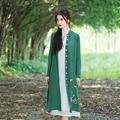 Mujeres de la rebeca femenina primavera verano otoño étnico vintage de manga larga de cuello alto verde blanco cardigan camisa de la blusa top blusa