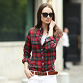 Veri Gude Spring and Fall Women Plaid Blouse Long Sleeve Cotton Plaid Shirt Free Shipping
