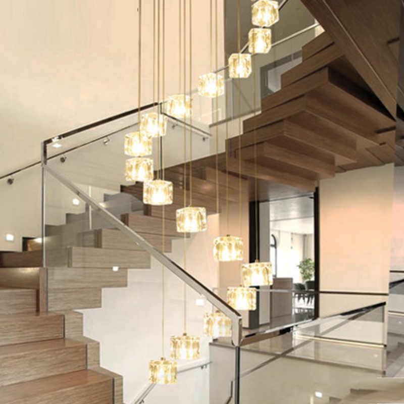 Lighting Basement Washroom Stairs: Stairs Long Pendant Lights LED Modern Dining Room Hotel