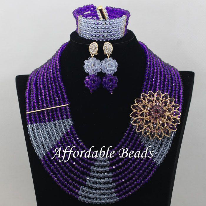 Violet lilas africain perles de mariage bijoux ensemble meilleur Dubai or bijoux ensemble à la main conception en gros livraison gratuite ABE131