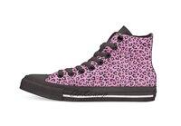 Rosa cheetah pele impressão casual alta superior sapatos de lona tênis leve sapatos de caminhada