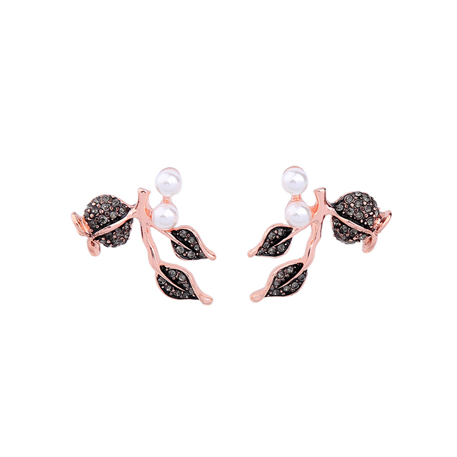 Minimalist Rose Gold Color Leaves Imitation Pearls Rhinestone Earrings 2017 Stud Online Ping India