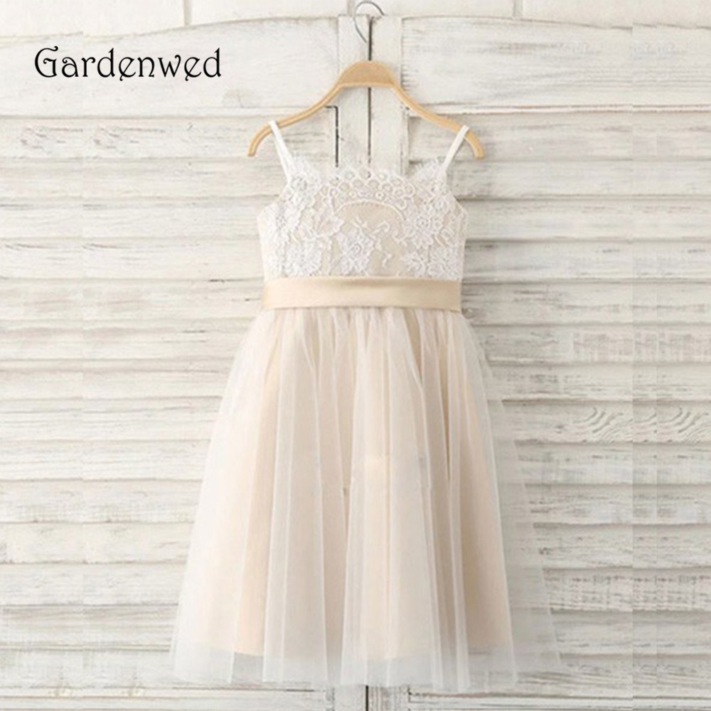 Lace Top Little Girl Cute Flower Girl Dresses 2019 Formal Communion Champagne Knee Length Gown Kids Bow Wedding Party Cheap