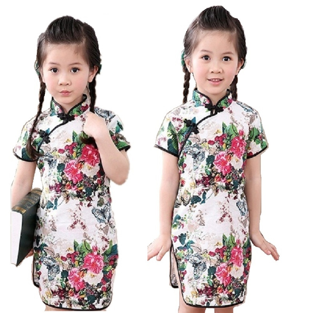 Rose Floral Baby Girls Qipao Dress Chinese Traditional Chi-pao Fashion New Year Children Dresses Kids Cheongsam Linen Clothes 4