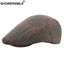SHOWERSMILE Houndstooth Beret Hat Men Wool Cap Plaid Mens Vintage Flat Khaki British Style Male Spring Autumn Duckbill Caps