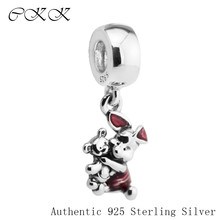 Authentic 925 Sterling Silver Piglet Charm Beads with Transparent Cerise Enamel Fit Bracelets DIY Fine Jewelry PF535