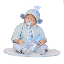 22 Inch 55CM NPK Dolls Blue Realistic Reborn Baby Silicone Doll Floppy Head Lifelike Newborn Baby Boy Doll Clothes Kids цена
