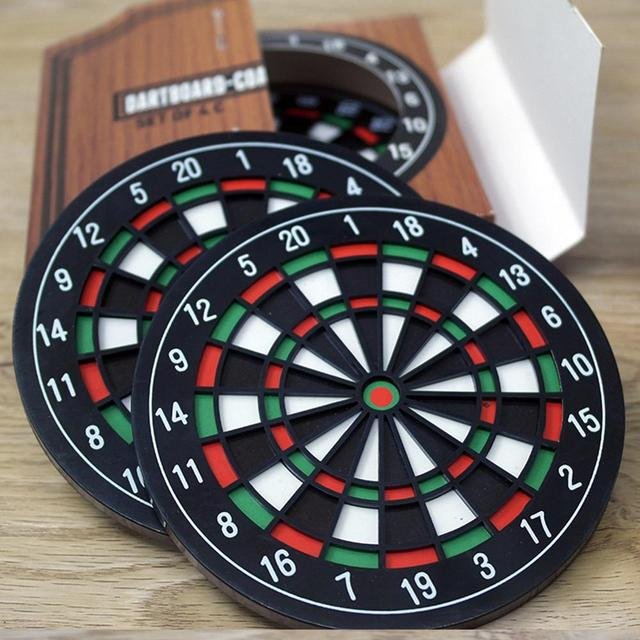 Set of Four Dartboard Shaped Coasters for Drinks