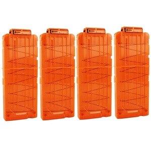 12 журналов для перезагрузки круглых дротиков, пластиковые журналы для замены игрушечного пистолета, мягкий зажим для пули оранжевого цвета...