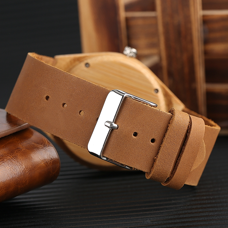 SUPER DAD Wood Watch Simple Bamboo Male Clock Casual Genuine Leather Band Men's Quartz Wristwatch Top Gifts for Dad Father's Day 2017 (10)