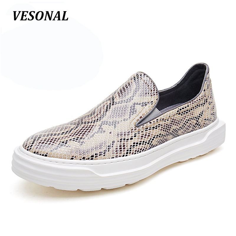 VESONAL New Serpentine Low Top Platform 100% Luxury Genuine Leather Loafers Men Shoes Fashion Mens Shoes Casual Boat Designer vesonal 2017 top quality lycra outdoor ultralight slip on loafers men shoes fashion stripe mens shoes casual sd7005