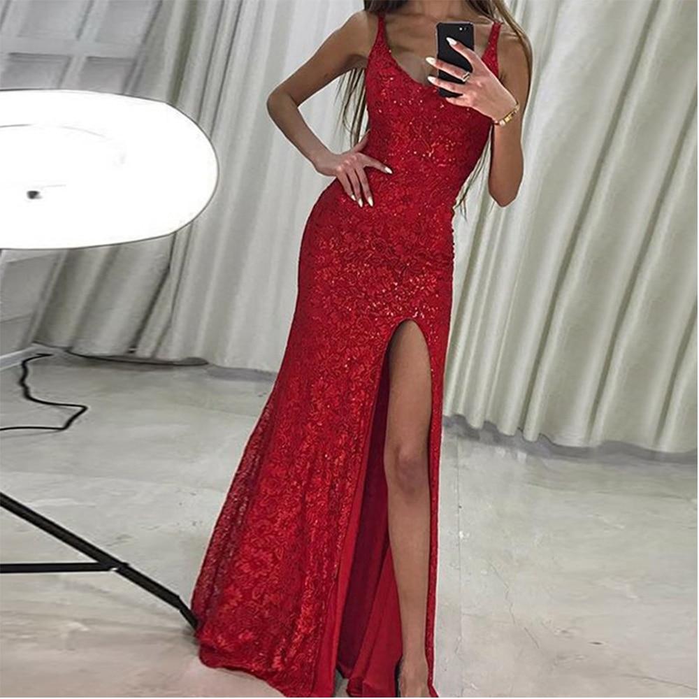 Bbonlinedress New Arrival   Prom     Dress   With Split Red Sequins Evening   Dress   Vestido de fiesta 2019 Vestido de noche Party   Dress