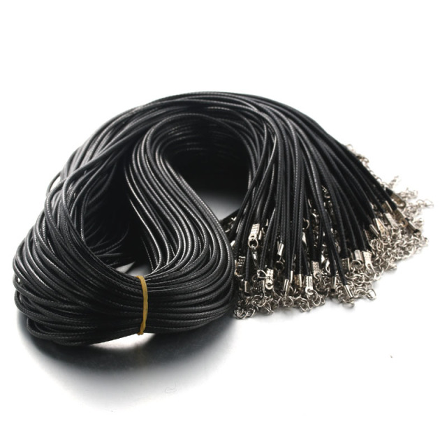 Black high quality 60CM Braided Rope Necklaces Lobster clasp Rope Chain 20PCS/lo