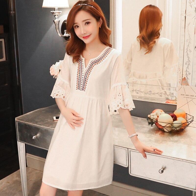Ажурное кружевное платье с коротким Расклешенным рукавом и вышивкой v образным