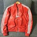 2017 men's sheep skin jacket male genuine leather rider jacket