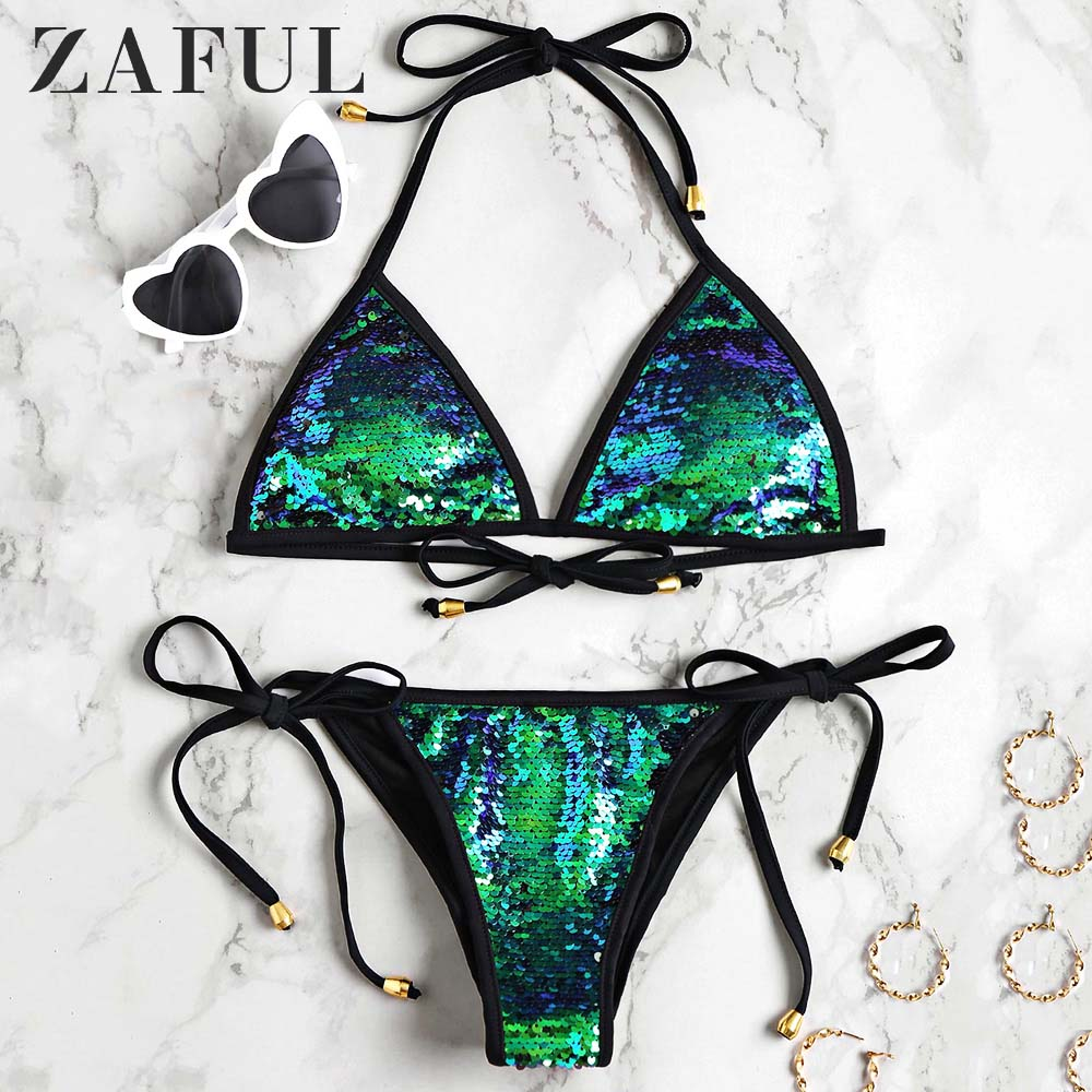 ZAFUL Bikini 2020 Women Sequined Scrunch Butt String Bikini Set Self-Tie Halter Shinning Sequins Swimsuit Low Waisted Swimwear