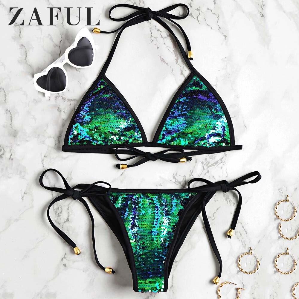 ZAFUL Bikini 2020 Women Sequined Scrunch Butt String Bikini Set Self-Tie Halter Shinning Sequins Swimsuit Low Waisted Swimwear