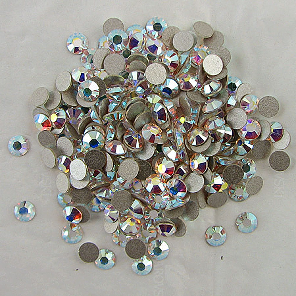 AAA Gold Foiling ss3-ss50 Crystal AB Non Hotfix Rhinestones / Flat Back Glue On Crystals for Nail Art