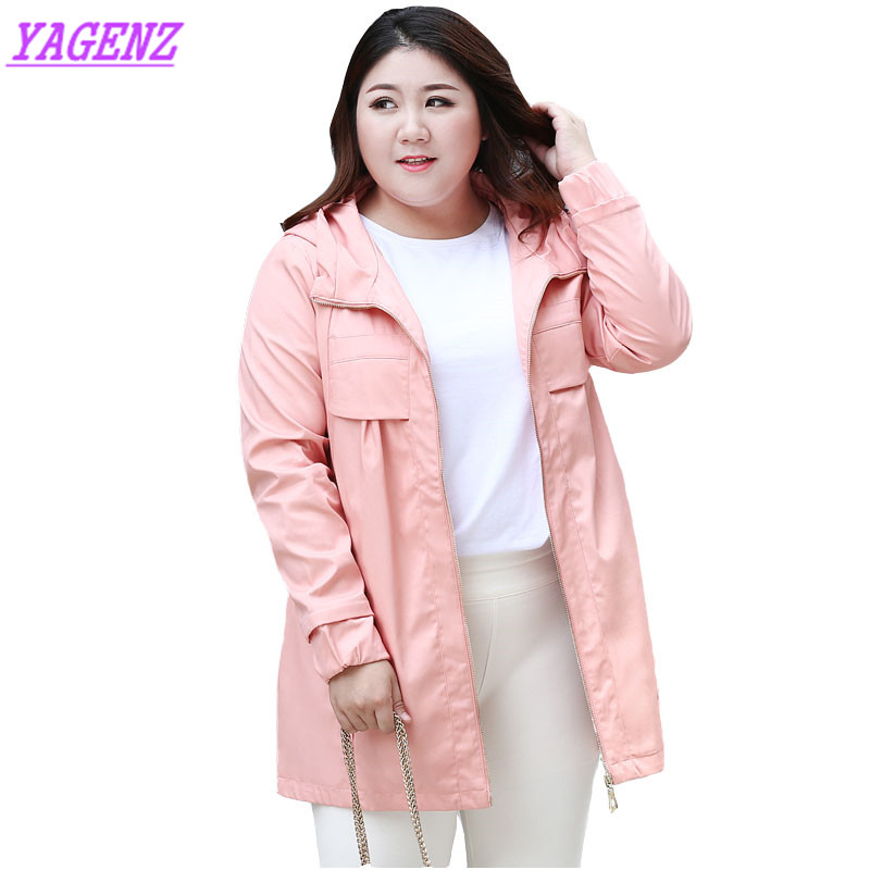 Spring Autumn Plus size Windbreaker Coat High quality Women Slim Long Trenchcoat Young Ladies Plus cashmere Hooded Overcoat B584