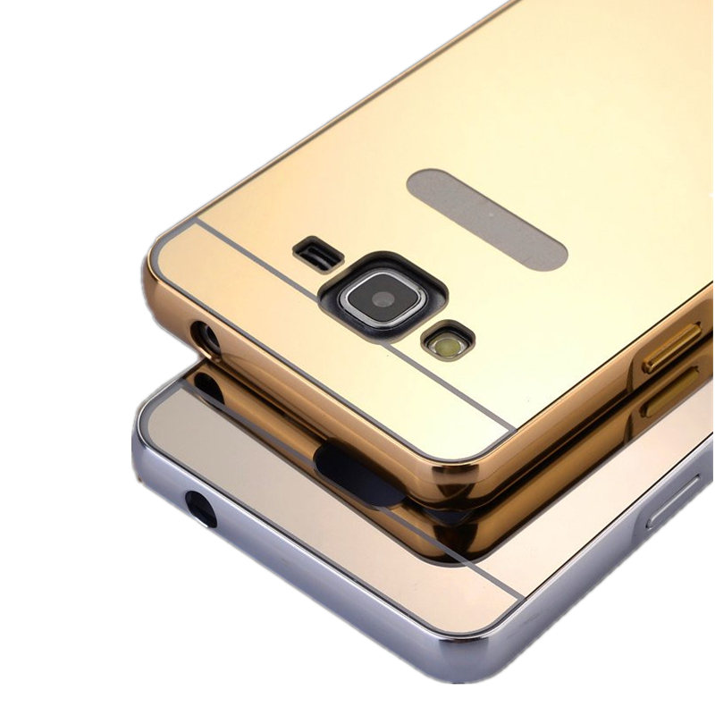J3 Luxury Metal Hard Phone Case For Samsung Galaxy J3 J300 SM-J3109 Plating Aluminum Frame+Mirror PC Back Cover espelhada coque