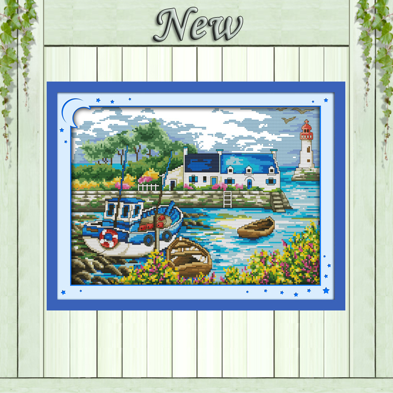 Scenery Of Port Light Tower Diy Paintings Counted Print On