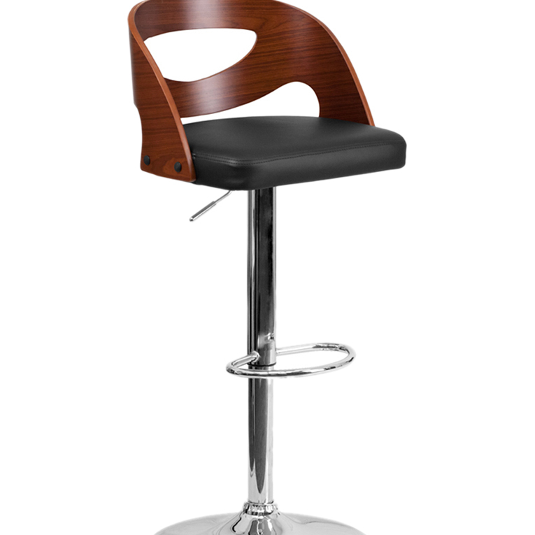 Flash Furniture Walnut Bentwood Adjustable Height Barstool with Black Vinyl Seat and Cutout Back light blue cutout back