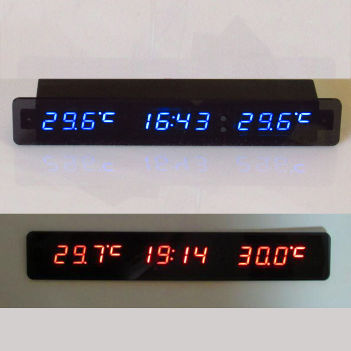 DC 12v Digital Display Car Voltage Thermometer clock Battery Voltmeter Outdoor Indoor temp time Monitor meter