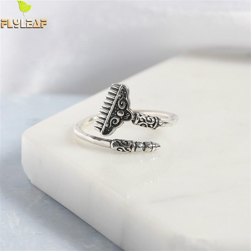 Flyleaf Pig Clouds Harrow Real 925 Sterling Silver Rings For Women High Quality Fine Jewelry Open Ring Vintage Personalized