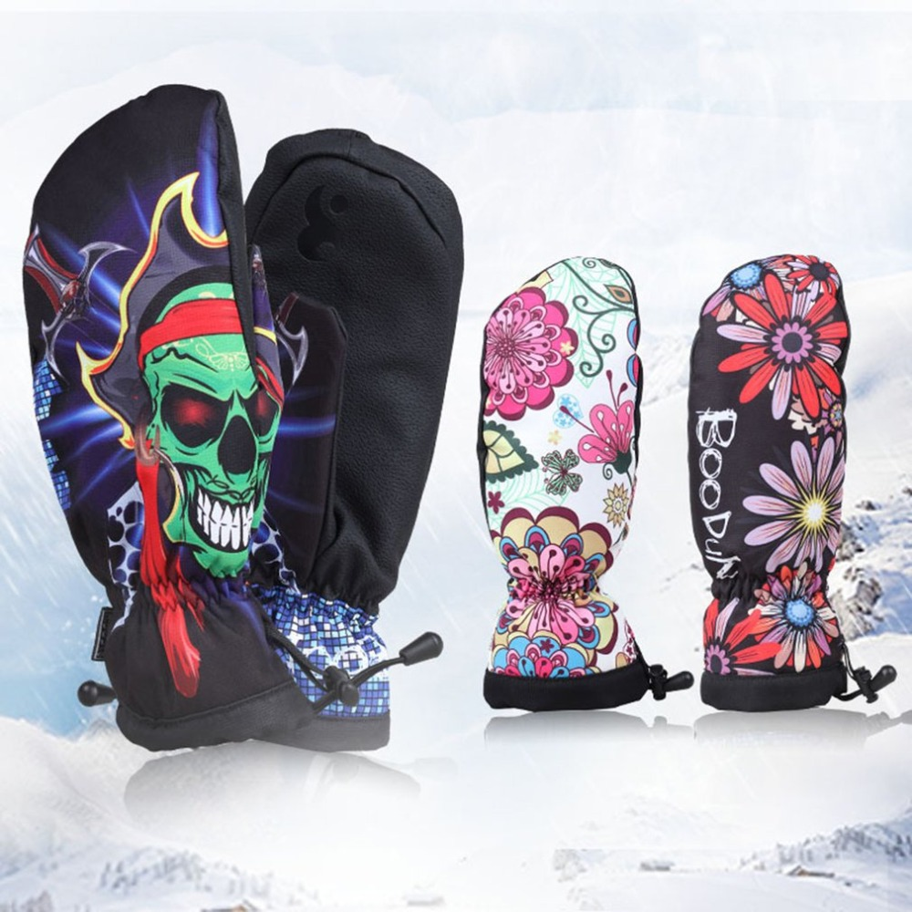 S-L Winter Women Men Snowboard Skiing Gloves Outdoor Sport Windproof Non-slip Skating Gloves Thicken fleece Warm Mittens Gloves