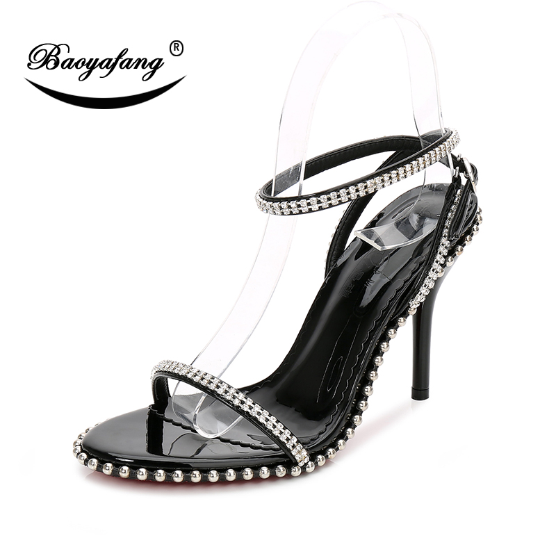 BaoYaFang New Crystal Ladies Sandals Summer Women Sandals 10 5cm High heel shoes woman Wedding shoes Bride Party Sandals Female in High Heels from Shoes