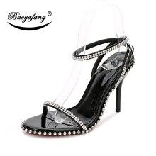 BaoYaFang New Crystal Ladies Sandals Summer Women 10.5cm High heel shoes woman Wedding Bride Party Female