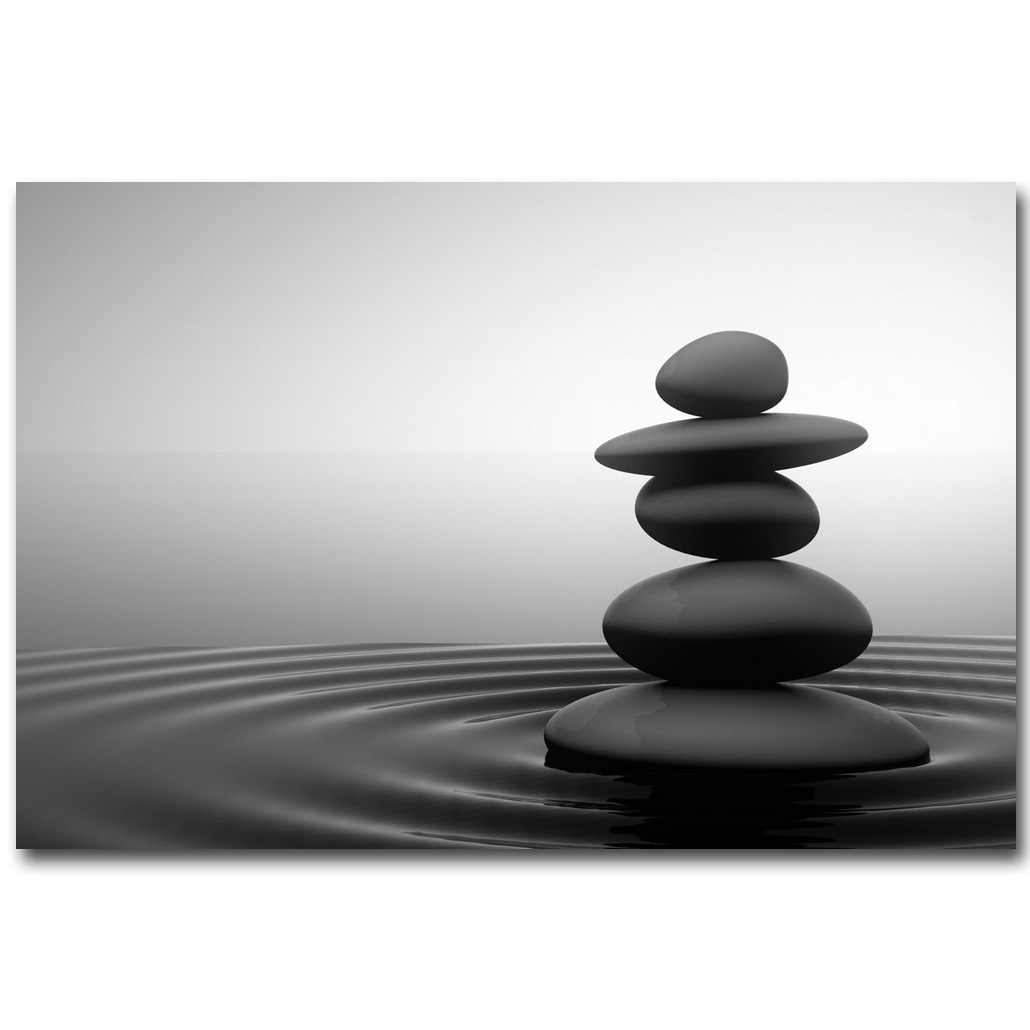 NICOLESHENTING ZEN Stone Meditation Art Silk Fabric Poster Huge Print 13x20 32x48 inch Buddha Picture for Room Wall Decor 023
