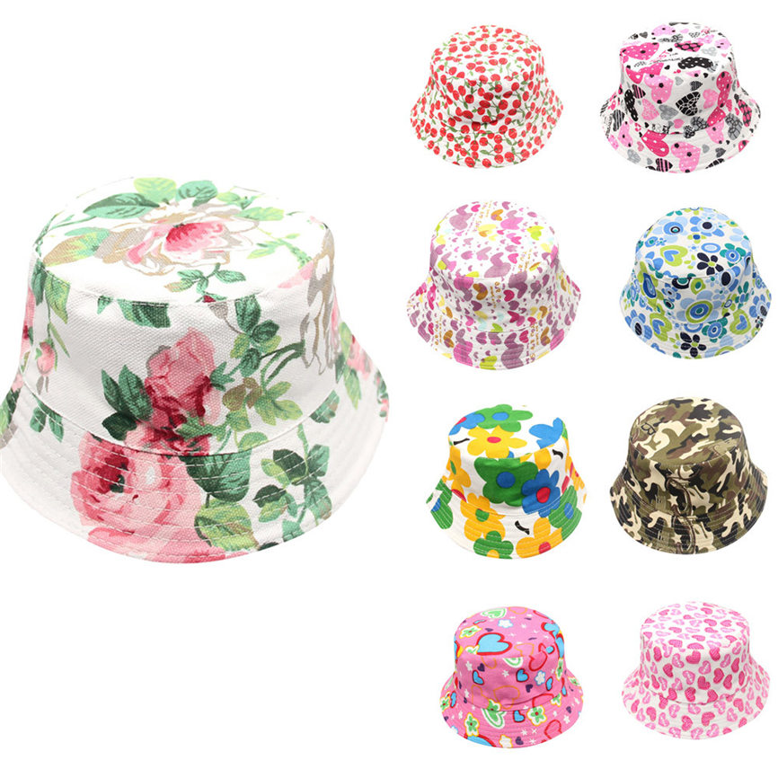 2018 Cute  Toddler Baby Kids Boys Girls Floral Pattern Bucket Hats Sun Helmet  Cap For 2~6 Age Dropshipping 0314