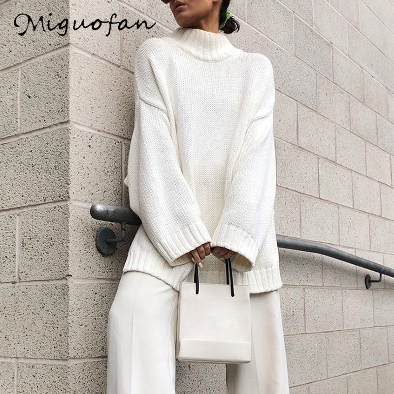 Miguofan White Knitted Sweater Pullovers Women Turtleneck Loose Long  Jumpers Casual Tops Women's Sweaters 2019 Autumn Winter