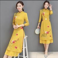 Fashion 2018 New Summer Cheongsam dress yellow Vietnam Womens dress