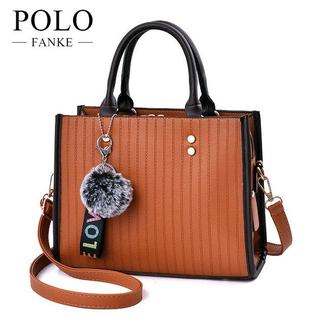 Fanke Polo Luxury Handbags Women Pu Leather Shoulder Bag For Female Famous Brands Las Plaid Crossbody
