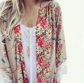 New 2016 Autumn Women Sexy Lace Floral Print Chiffon Blouse Cardigans Casual Lace Shirt Tops Blusas