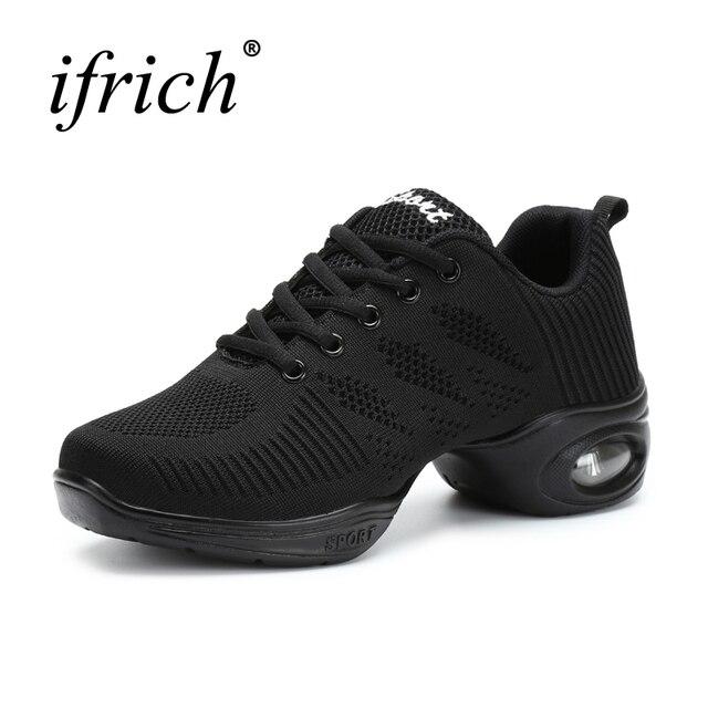 Новое поступление 2017 года современной танцевальной обуви резиновая на среднем каблуке Танцы кроссовки для Для женщин воздушной подушке Леди тапки белый/черный Jazzing сапоги